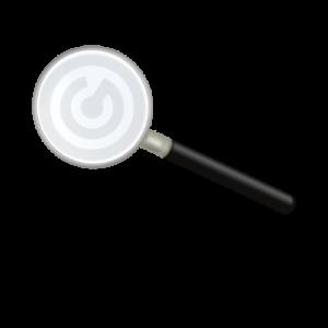 Lente di ingrandimento con simbolo di Riccardo Girardi per Check-Up Digitale