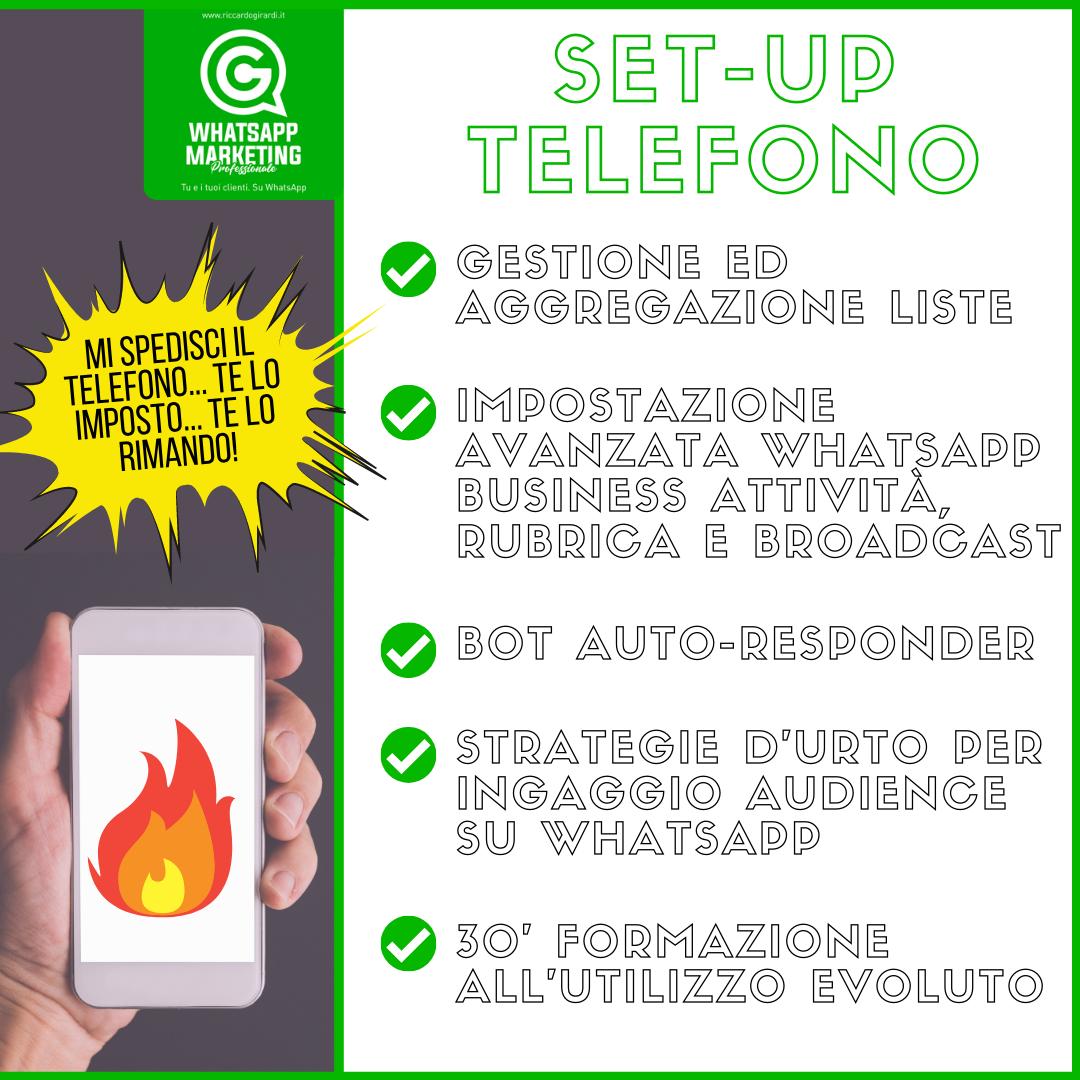 Setup telefono whatsapp marketing professionale